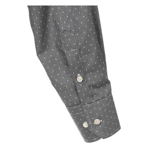 Camicia clergy tessuto croci grigio Manica Lunga 4