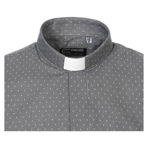 Camicia clergy tessuto croci grigio Manica Lunga 5