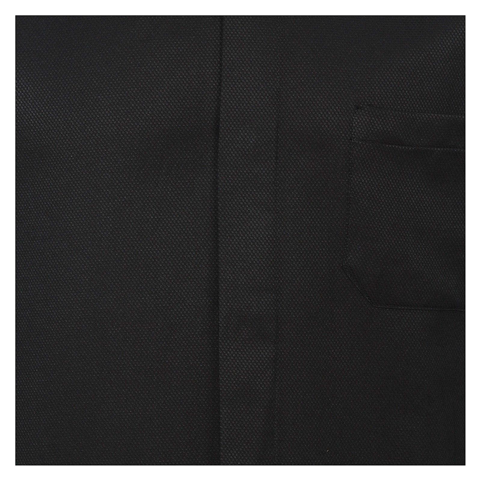 Camicia colletto clergy seta nido d'ape nero M. lunga 4
