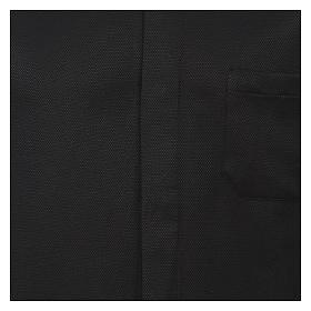 Camicia colletto clergy seta nido d'ape nero M. lunga s2