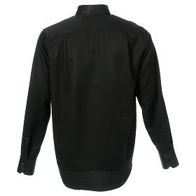 Camicia colletto clergy seta nido d'ape nero M. lunga s3