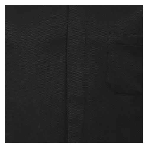 Camicia colletto clergy seta nido d'ape nero M. lunga 2