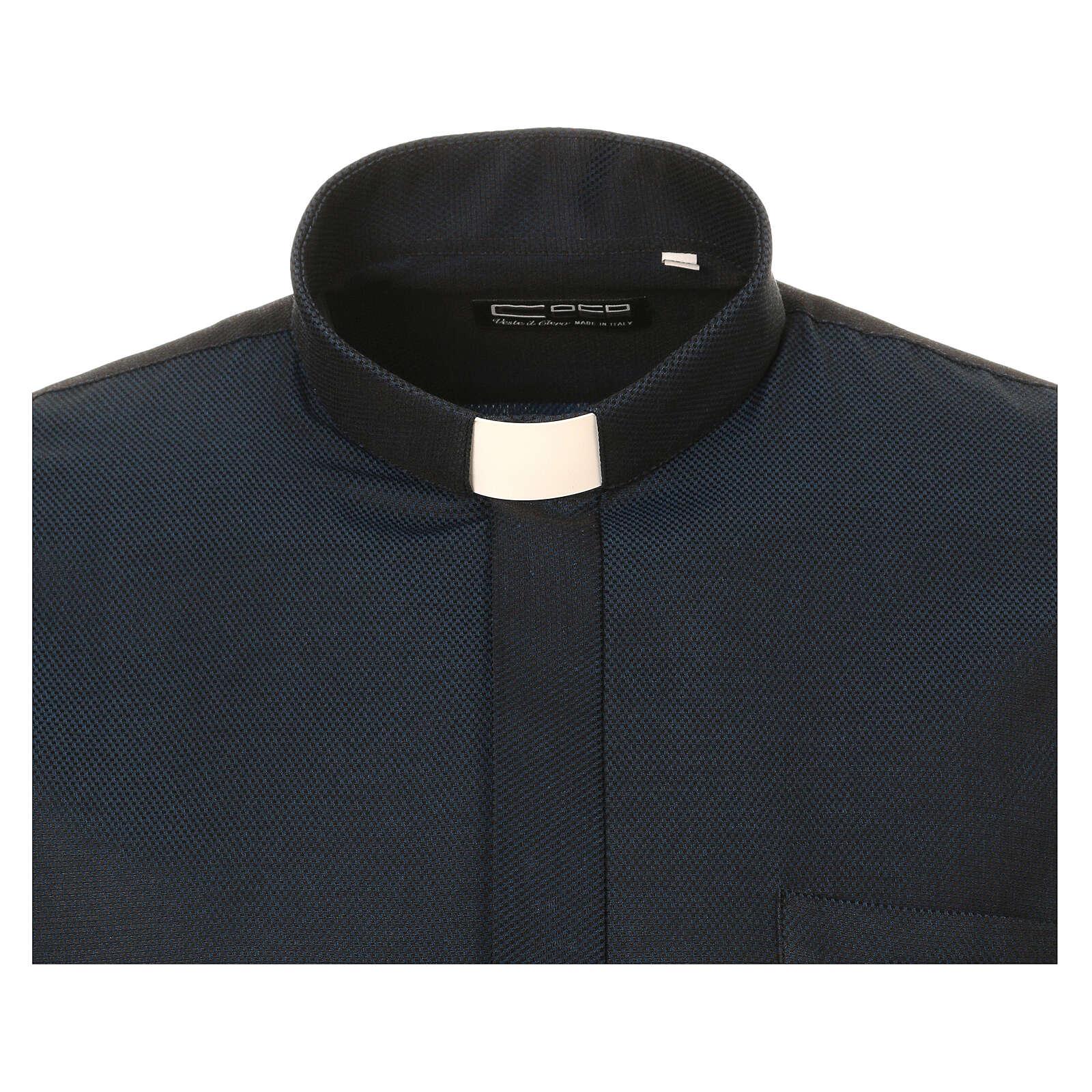 Camisa clergy de seda tejido nido de abeja Azul M. Larga 4