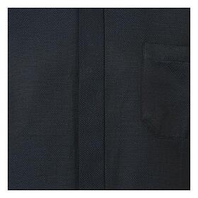 Camisa clergy de seda tejido nido de abeja Azul M. Larga s2