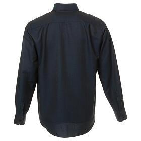 Camisa clergy de seda tejido nido de abeja Azul M. Larga s3