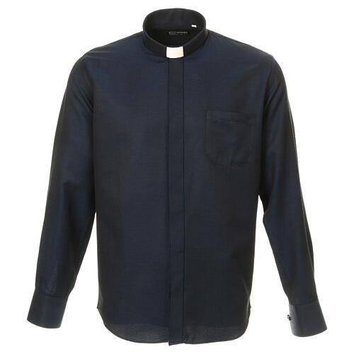 Camisa clergy de seda tejido nido de abeja Azul M. Larga 1