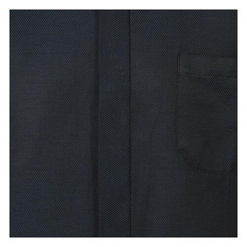 Camisa clergy de seda tejido nido de abeja Azul M. Larga 2