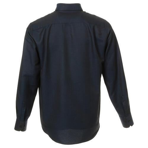 Camisa clergy de seda tejido nido de abeja Azul M. Larga 3