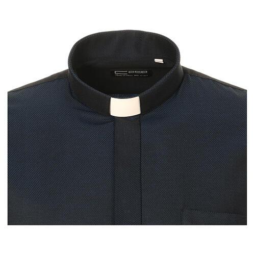 Camisa clergy de seda tejido nido de abeja Azul M. Larga 5