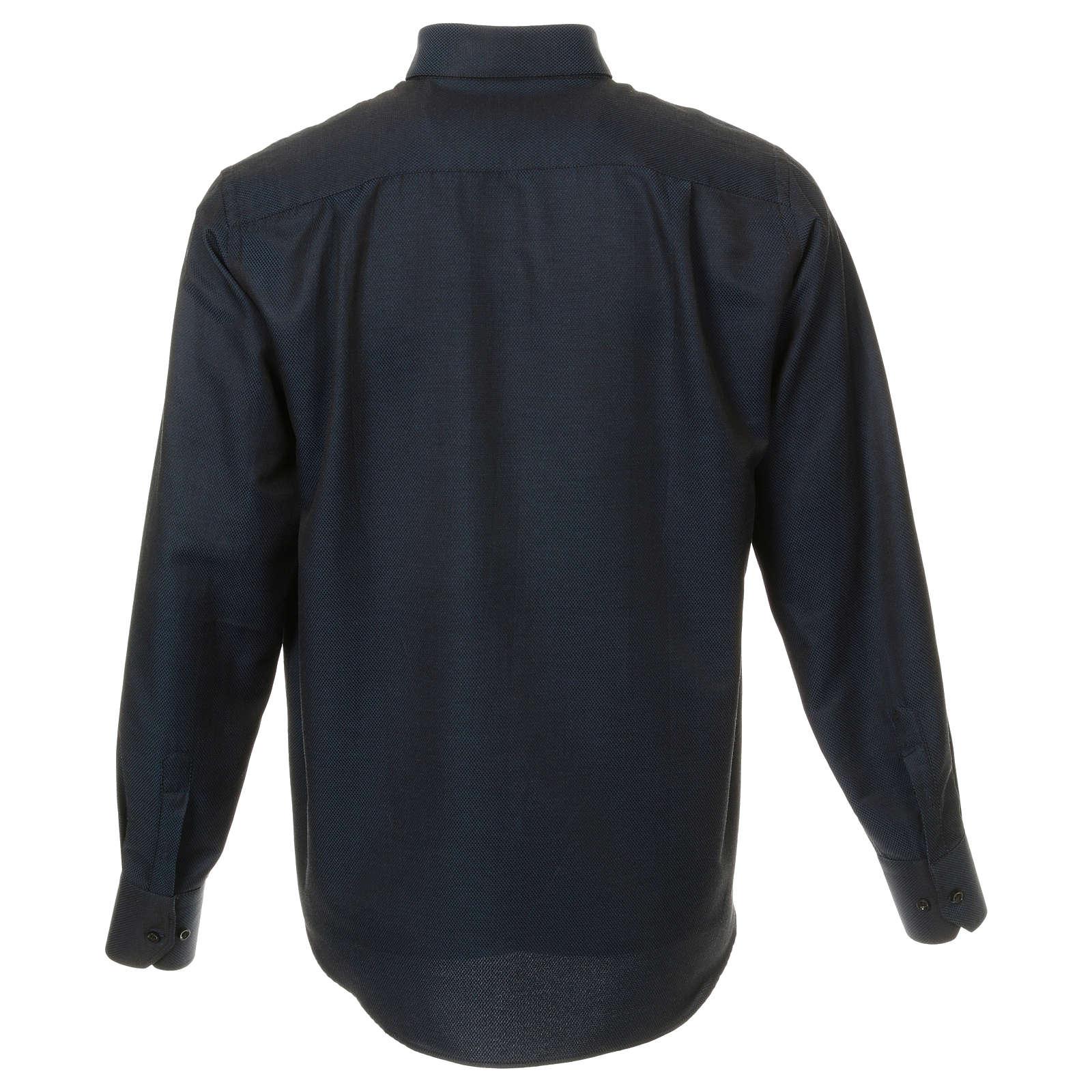 Camicia clergy in seta tessuto nido d'ape Blu M. Lunga 4