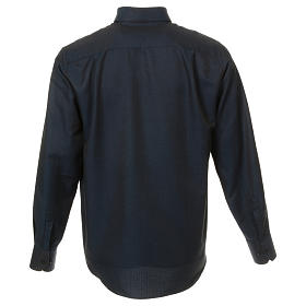 Camicia clergy in seta tessuto nido d'ape Blu M. Lunga s3