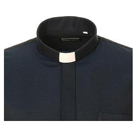 Camicia clergy in seta tessuto nido d'ape Blu M. Lunga s5