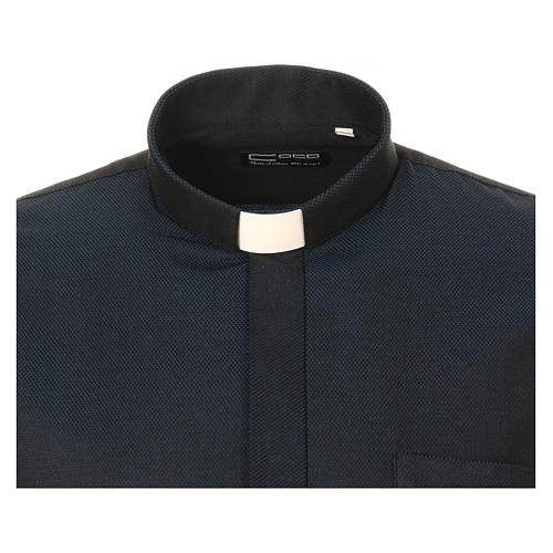 Camicia clergy in seta tessuto nido d'ape Blu M. Lunga 5