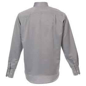 Camicia clergyman seta grigio nido d'ape M. Lunga s3
