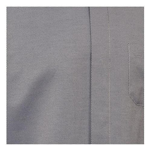 Camicia clergyman seta grigio nido d'ape M. Lunga 2