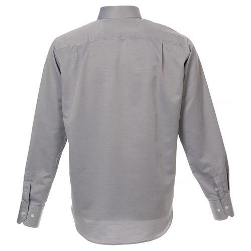 Camicia clergyman seta grigio nido d'ape M. Lunga 3