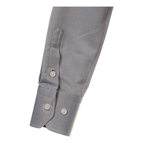 Camicia clergyman seta grigio nido d'ape M. Lunga 4