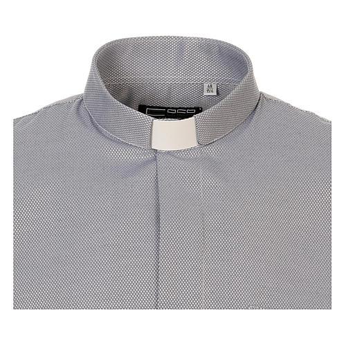 Camicia clergyman seta grigio nido d'ape M. Lunga 5