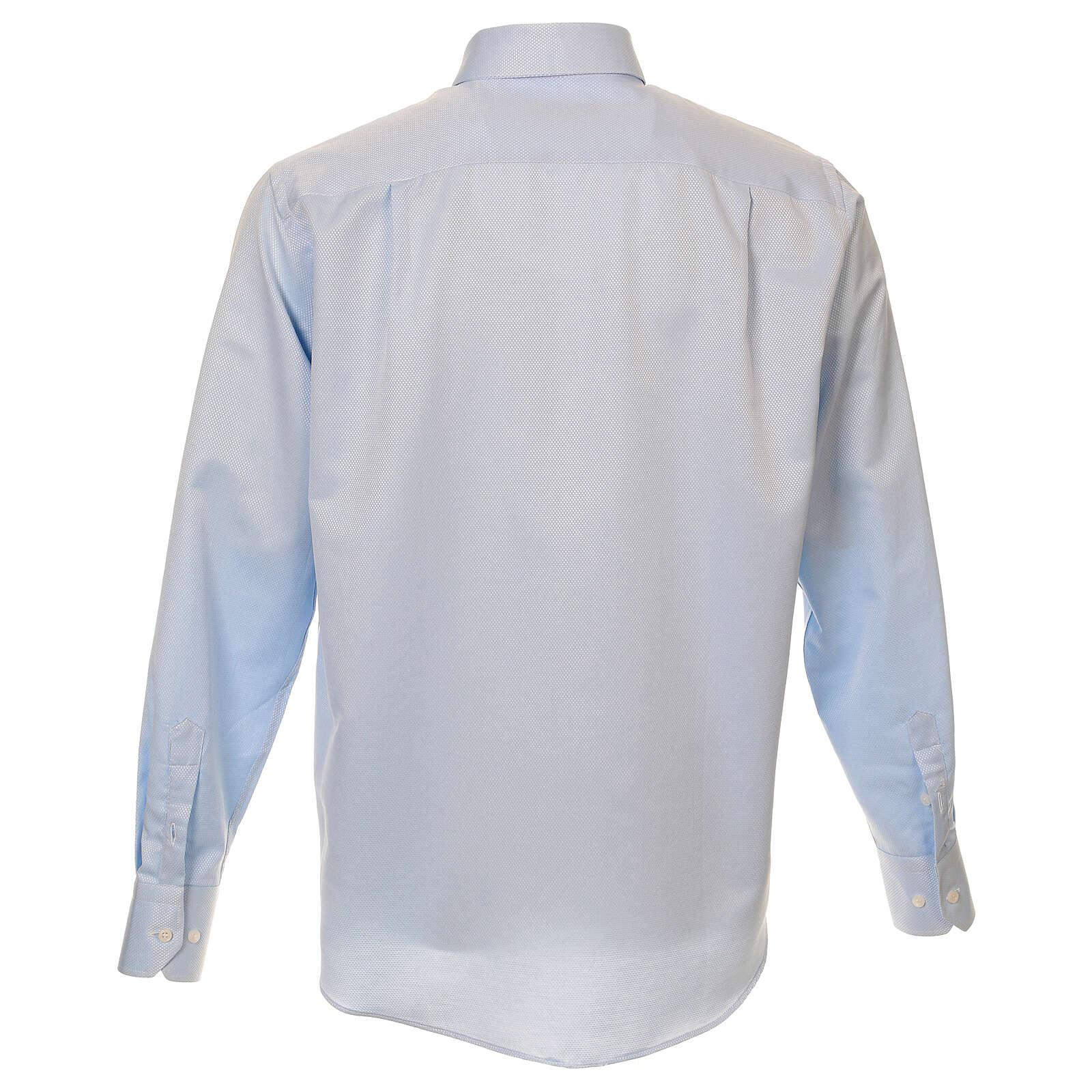 Camisa clergyman seda celeste nido de abeja M. Larga 4