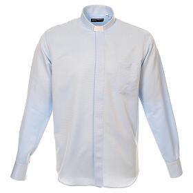 Camisa clergyman seda celeste nido de abeja M. Larga s1