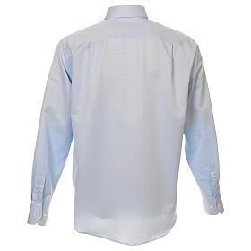 Camisa clergyman seda celeste nido de abeja M. Larga s3