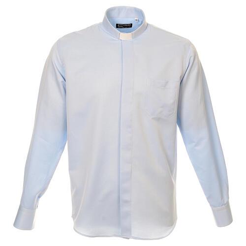 Camisa clergyman seda celeste nido de abeja M. Larga 1