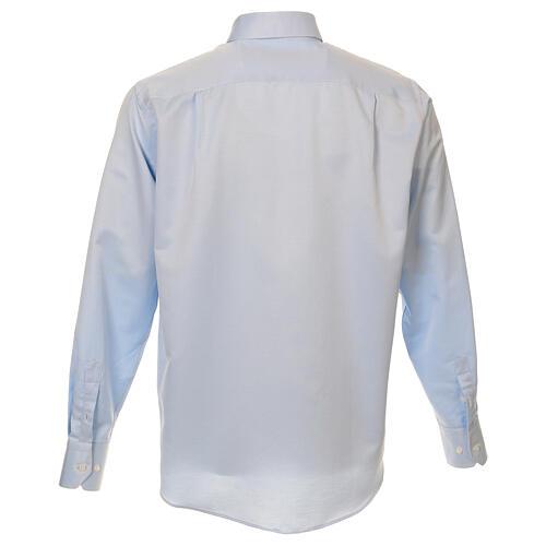 Camisa clergyman seda celeste nido de abeja M. Larga 3