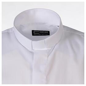 Camisa clergyman blanco de un solo color manga corta s5