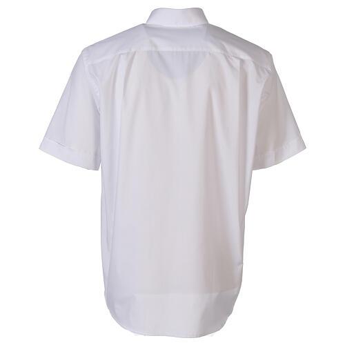 Camisa clergyman blanco de un solo color manga corta 6