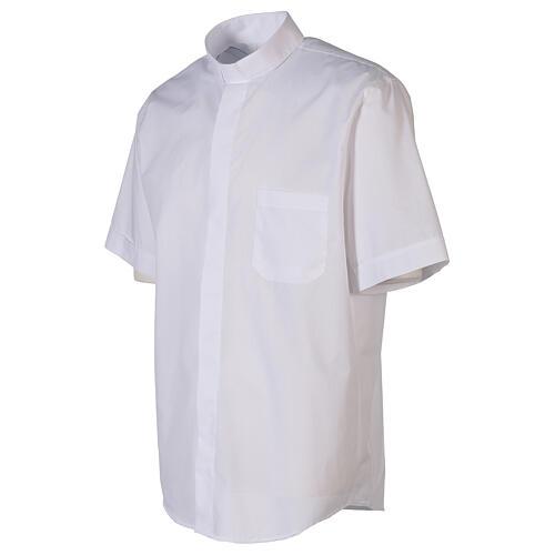 Chemise clergyman blanc uni manches courtes 3