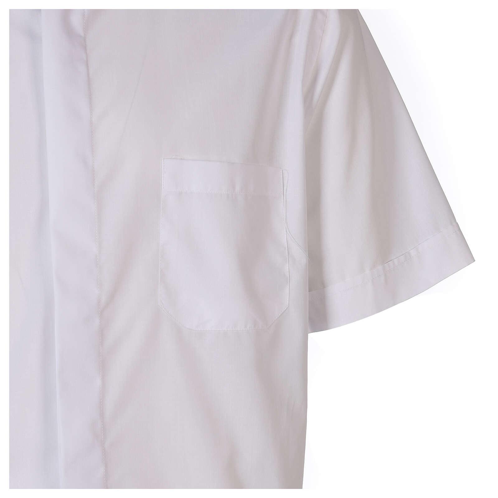 Camicia clergyman bianco tinta unita manica corta 4