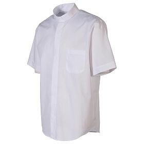 Camicia clergyman bianco tinta unita manica corta s3