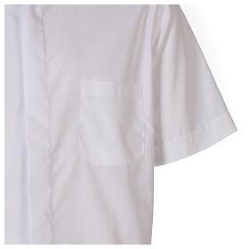 Camicia clergyman bianco tinta unita manica corta s4
