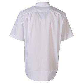 Camicia clergyman bianco tinta unita manica corta s6