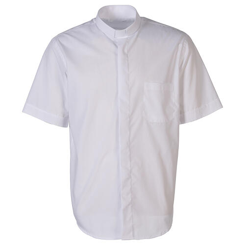 Camicia clergyman bianco tinta unita manica corta 1