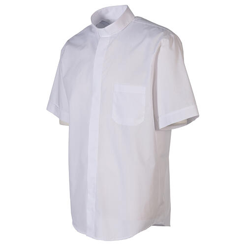 Camicia clergyman bianco tinta unita manica corta 3