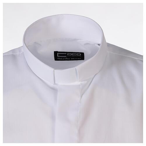 Camicia clergyman bianco tinta unita manica corta 5