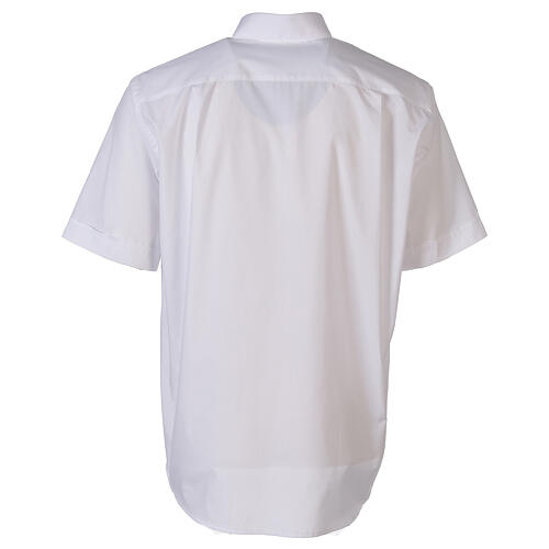 Camicia clergyman bianco tinta unita manica corta 6
