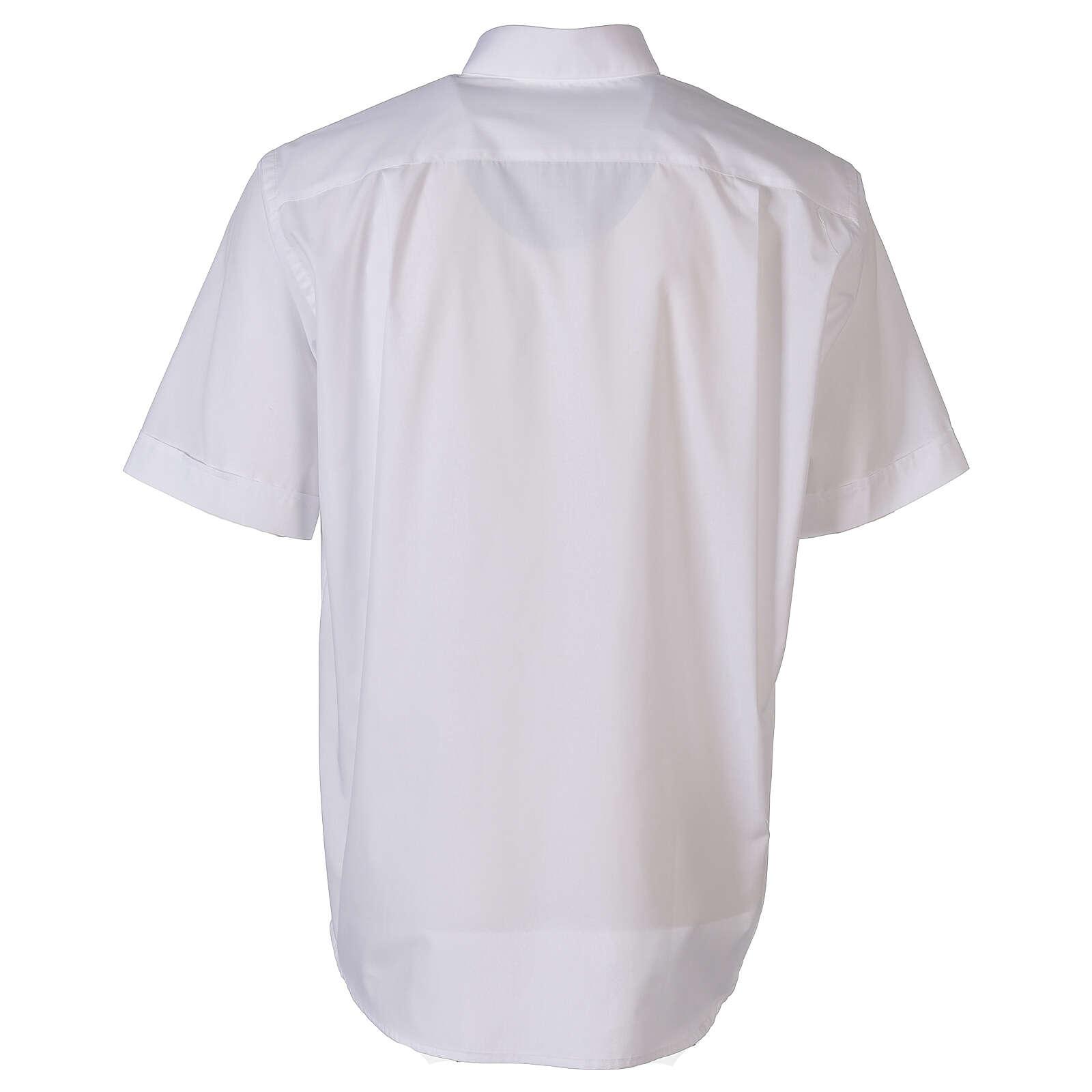 Camisa para sacerdote branca unicolor mangas curtas 4