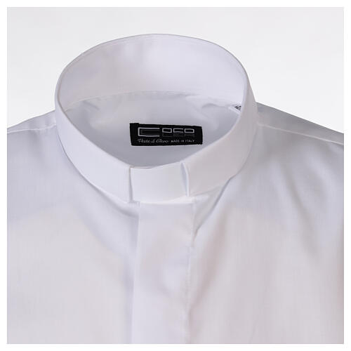 Camisa para sacerdote branca unicolor mangas curtas 5