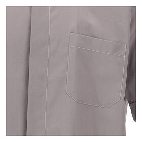 Camisa clergy gris claro de un solo color manga corta s2