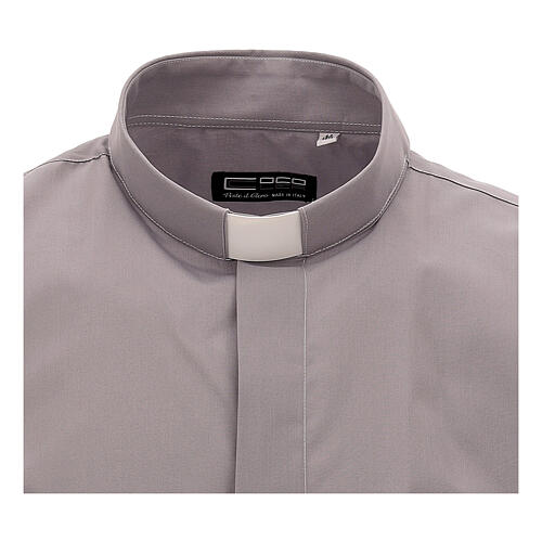 Camisa clergy gris claro de un solo color manga corta 3