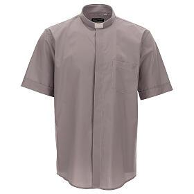 Camicia clergy grigio chiaro tinta unita manica corta s1