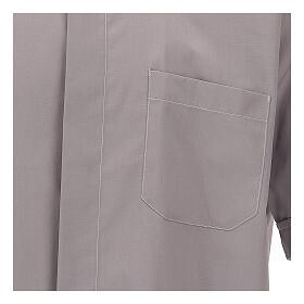 Camicia clergy grigio chiaro tinta unita manica corta s2