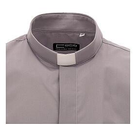 Camicia clergy grigio chiaro tinta unita manica corta s3