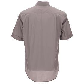 Camicia clergy grigio chiaro tinta unita manica corta s4
