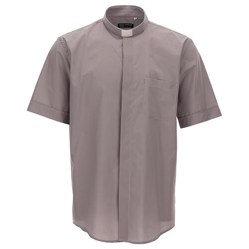 Camicia clergy grigio chiaro tinta unita manica corta 1