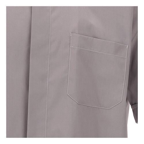 Camicia clergy grigio chiaro tinta unita manica corta 2