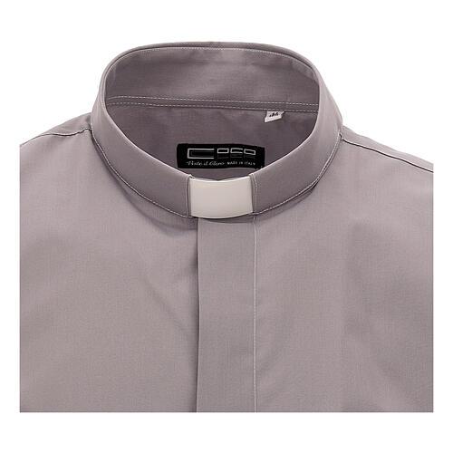 Camicia clergy grigio chiaro tinta unita manica corta 3