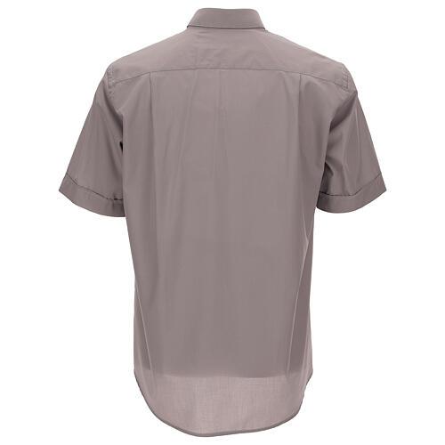 Camicia clergy grigio chiaro tinta unita manica corta 4